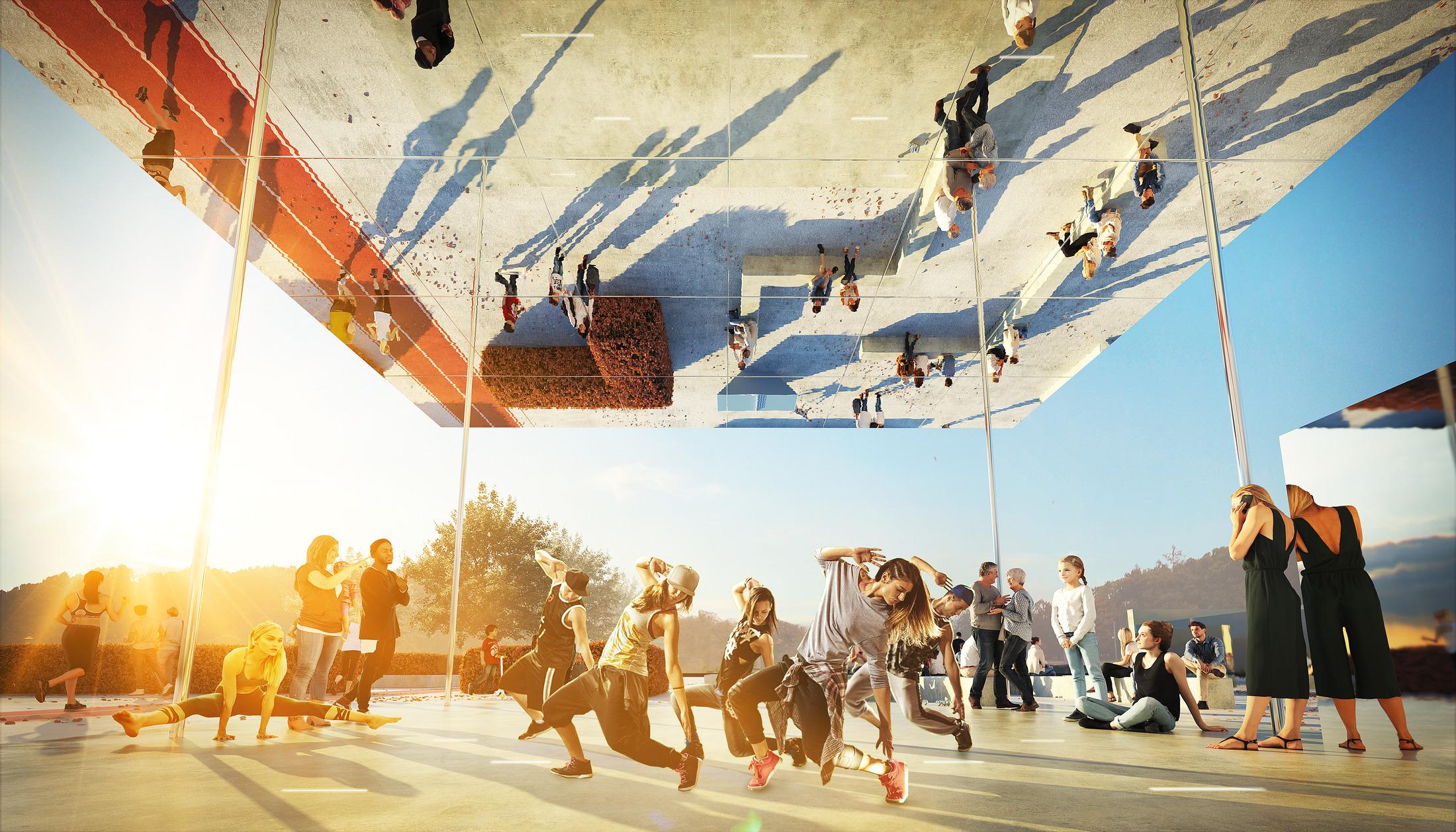 Tävlingsförslag från Nyréns, förslag på utformning av Slottsskogsvallens entrépark.
