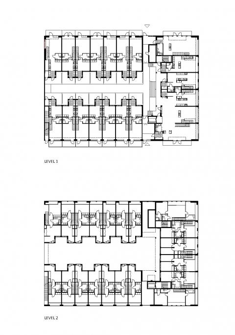 Bostäder i Finnboda Varv i Nacka. Fd Svetshall som omvandlats till bostäder. Bilden visar planlösningar.