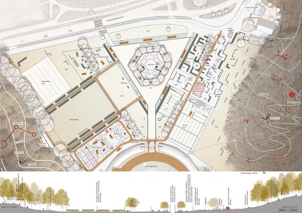 Tävlingsförslag från Nyréns, skiss med förslag till utformning av Slottsskogsvallens entrépark.