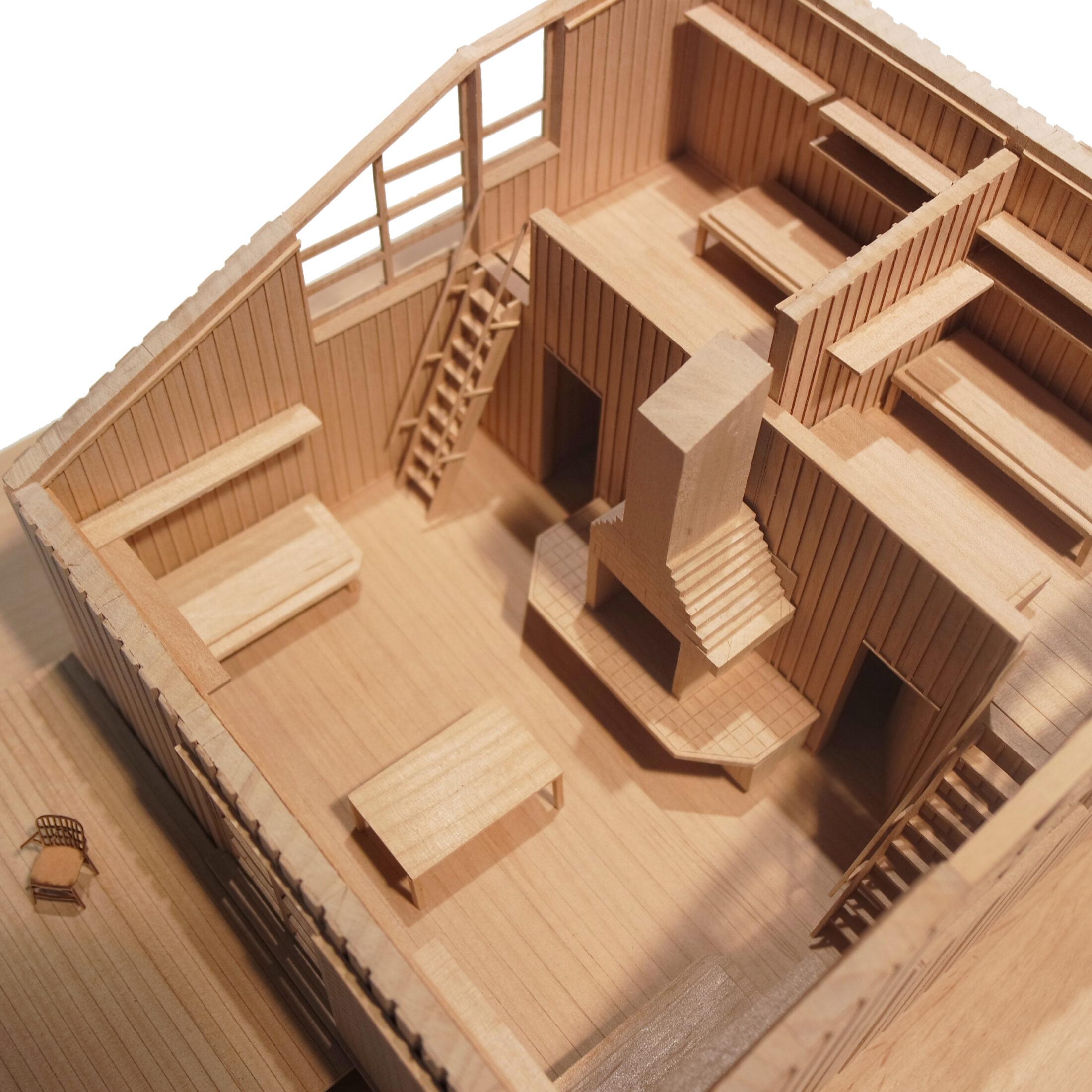Fysisk modell av Nyréns fjällstuga i Fjällnäs. Nyréns modellverkstad