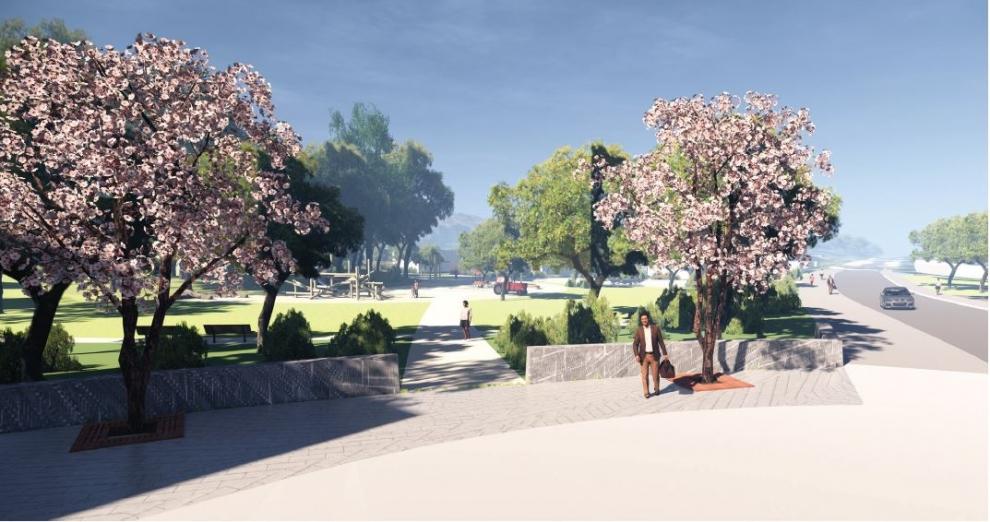 Visualisering av Skärholmsdalens parkentré
