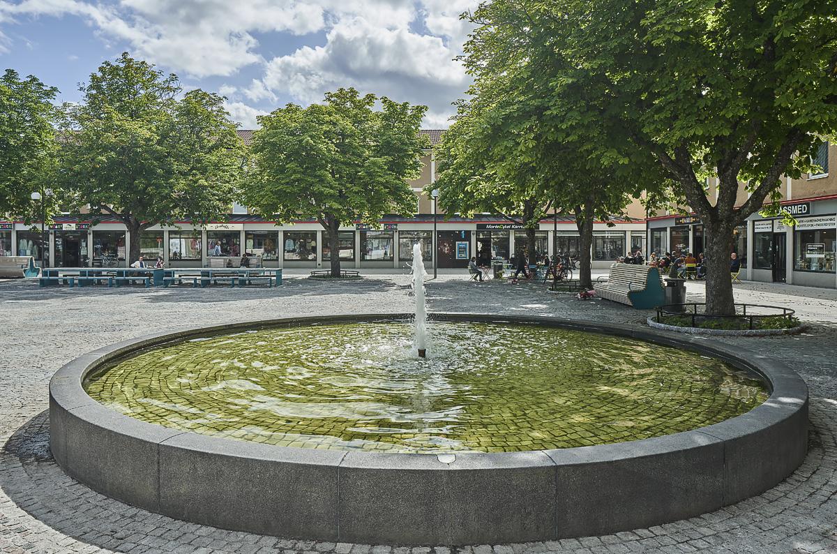 Kärrtorp centrum fontän torg foto Åke Eson