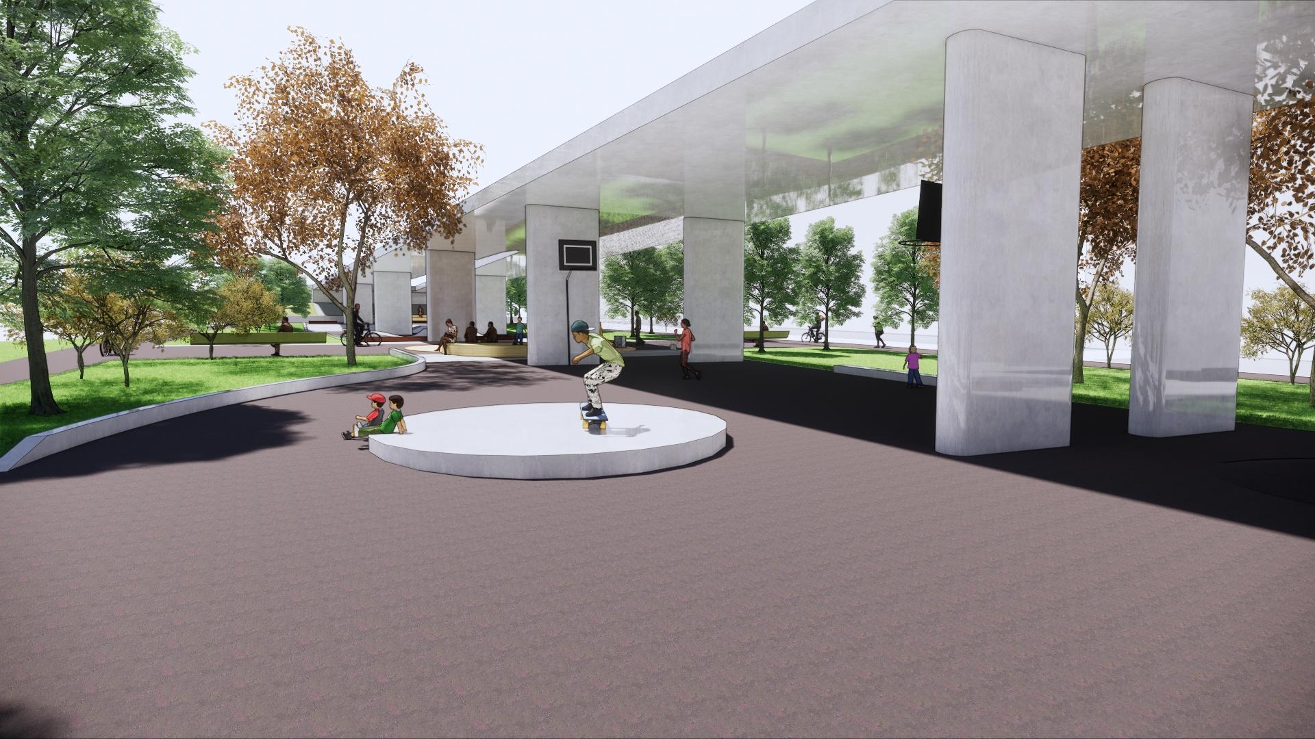 Visualisering rullparken under bron Teaterparken