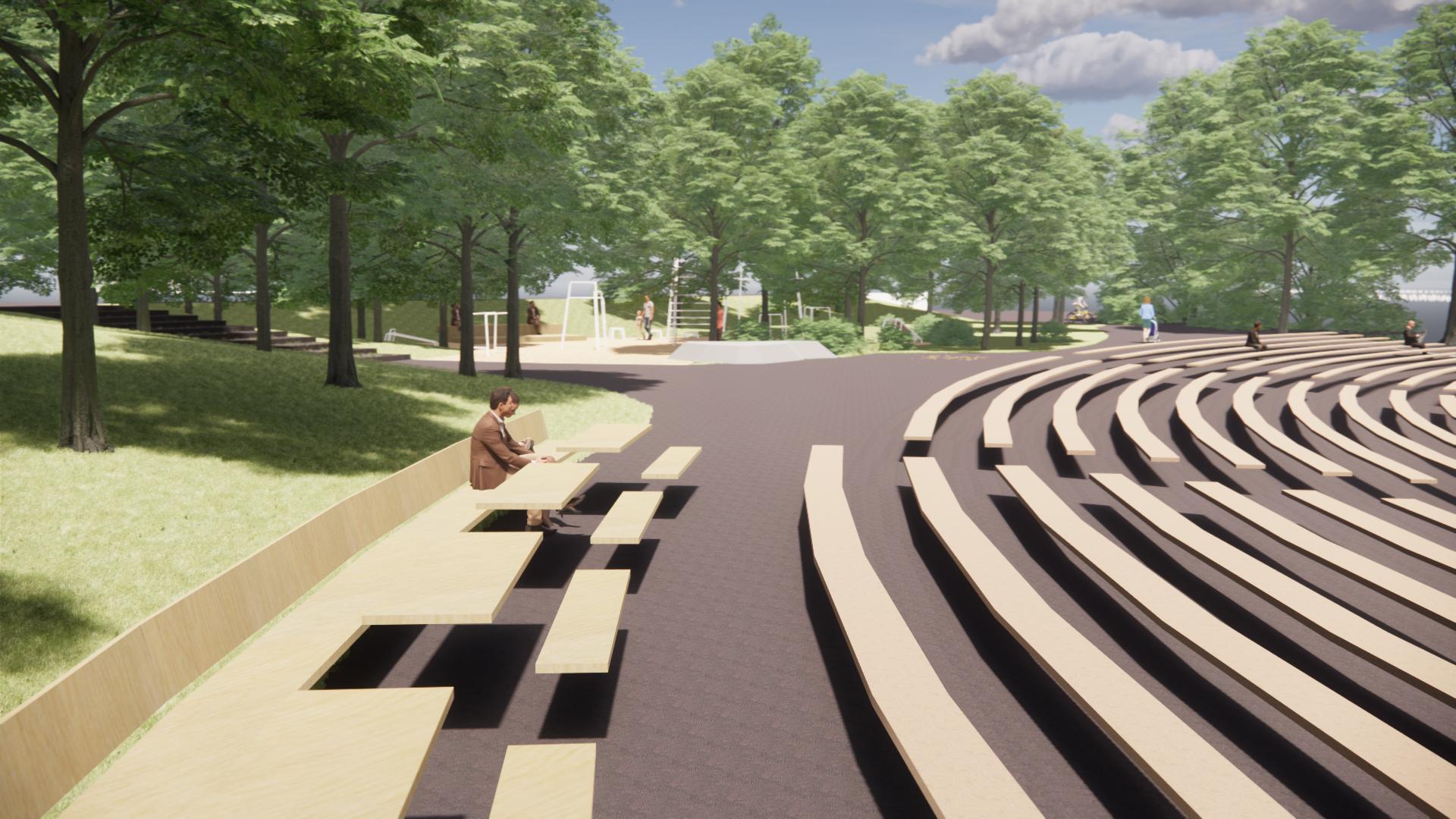 Visualisering amfiteatern Teaterparken